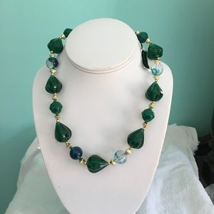 Chunky Green Lucite Necklace -Lightweight & Pretty